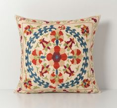 Suzani Pillow  Vintage Hand Embroidery Silk Threads by pillowme, $78.00