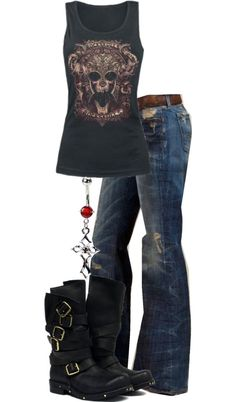 """I totally love these jeans!  vintage rock n roll tee is cute want one just not sure this is """"the one"""""""