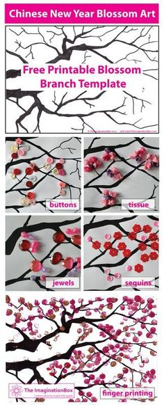 Make beautiful cherry blossom art with this free 'blossom branch' template. Experiment with finger painting, buttons, beads.a great Chinese New Year activity for children of all ages Craft and DIY Projects and Tutorials Chinese New Year Kids, Chinese New Year Activities, New Years Activities, Art Activities, Chinese New Year Poster, Cherry Blossom Art, Blossom Trees, Cherry Blossom Bedroom, Chinese Blossom