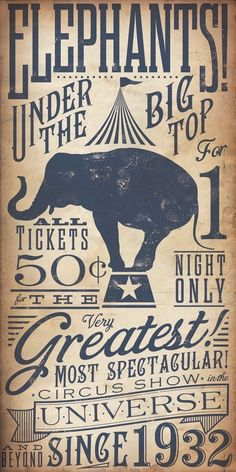 Circus Elephant Vintage Style Kids graphic artwork on canvas 18 x 36  by stephen fowler by melva