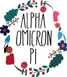 """Alpha Omicron Pi Flower Wreath"""" by Margaret Young   Redbubble"""