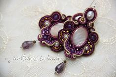handmade soutache earrings with abalone and natural pearls