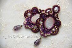 orecchini soutache a mano con perle naturali e abalone