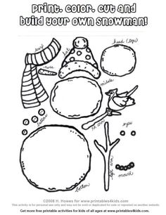 Printable Build a Snowman Activity : Printables for Kids – free word search puzzles, coloring pages, and other activities