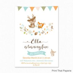 Woodland Birthday Invitation Woodland by PrintThatPaperie on Etsy