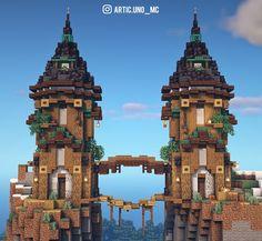 Casa Medieval Minecraft, Minecraft Mansion, Cute Minecraft Houses, Amazing Minecraft, Minecraft Crafts, Minecraft Mountain Castle, Minecraft Cottage House, Minecraft Christmas, Plans Minecraft
