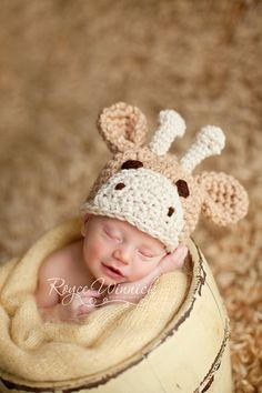 I don't know...which giraffe hat is cuter?  It's going to be so much fun keeping my little Lady B warm this winter!