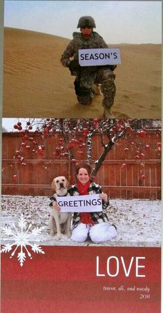 Such a cute Christmas card idea for a couple apart due to a deployment!