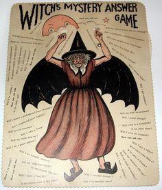 Vintage Halloween RARE Witch's Mystery Answer Game BEISTLE Early 1930s | eBay