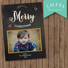 Christmas Card, Photo Christmas Card, Chalkboard Christmas Card, Christmas Lights, Holiday Card, DIY Printable Christmas Card