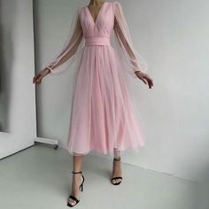 Prom Dresses Long Pink, Prom Dresses Long With Sleeves, Tulle Prom Dress, Party Dress, Prom Party, Long Sleeve Vintage Dresses, Long Sleeve Chiffon Dress, Dress Sleeves, Puff Sleeves