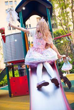 •○~ Sweet lolita, 甘いロリータ♥ Angelic Pretty - pastel - dress  - hair bow - wand - playground - coordinate - cute - kawaii - Japanese street fashion✮ ~•○