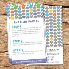 These mini facial instruction cards will fit perfectly in any sample pack. Perfect gift for new Rodan and Fields consultants.  A personal favorite from my Etsy shop https://www.etsy.com/listing/271119568/rf-mini-facial-instructions-card-biz