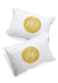 Goodnight, Room Pillowcase Set by Kin Ship - White, Yellow, Novelty Print, Cotton, Exclusives, Good