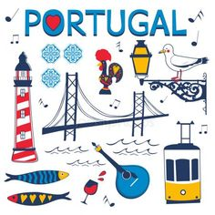 Elegante coleção de ícones Português típicos — Vetor de Stock