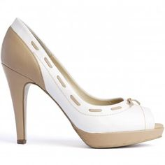 eea663c95afc Peter Kaiser Pallia peep toe white and nude stilettos - fashionable high  heel shoes in white patent and camel leather finish