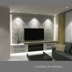 Risultati immagini per décoration sous-sol salon Basement Living Rooms, Living Room Tv Unit, Living Room Decor, Tv Wall Design, House Design, Home Theather, Modern Tv Wall, Home And Living, Small Living