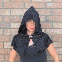 Black Velvet Hooded Shoulder Capelet, Short Cape, Cloak - Gothic, Vampire, Witch, Halloween Costume - Crushed Velvet - READY TO SHIP. $58.00, via Etsy.