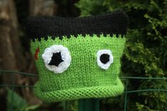 Green Knit Frankenstein Baby Hat  Photography by BabyBirdKnits