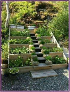 garten hochbeet 20 Awesome Garden Stairs Ideas That You Must See Sloped Backyard Landscaping, Sloped Garden, Backyard Garden Design, Diy Garden, Terrace Garden, Landscaping Ideas, Backyard Sheds, Garden Plants, Herb Garden
