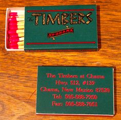 The Timbers at Chama #matchbox - Chama, NM - To order your business' own branded matches, go to www.GetMatches.com or call 800.605.7331 Today!