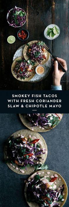 Smokey Fish Tacos with Fresh Coriander Slaw & Chipotle Mayo | Gather & Feast
