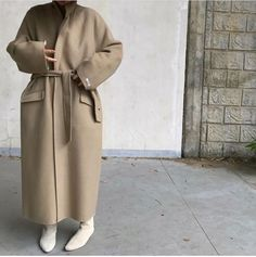 Minimal Outfit, Wrap Coat, Oversized Coat, Korean Fashion, Duster Coat, Casual Outfits, Fall Winter, Street Style, Jackets