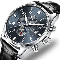 Mens Pilot Military Watch Automatic Mechanical Days 24-Ho...