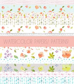 Clip Art- Watercolor Patterns, Clip Art Tape, and Digital Papers. $5.00, via Etsy.