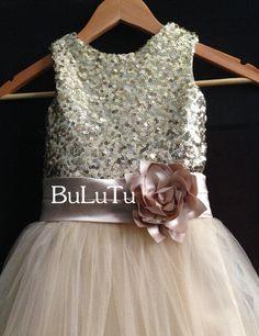 Cheap Sale!!! champagne sequin dress, flower girl dress Junior Bridesmaid Baptism Infant Toddler Dress