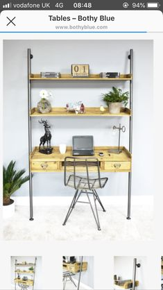 Retro Industrial Wood /Metal Computer Desk with Shelving Unit x 200 x Space Saving Computer Desk, Metal Computer Desk, Wood Ladder, Interior Work, Wood Drawers, Moving House, High Quality Furniture, Wood And Metal