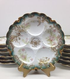 LOT OF 13  BEAUTIFUL ANTIQUE FRENCH LIMOGES HAVILAND ROCOCO GOLD OYSTER PLATES #HAVILAND