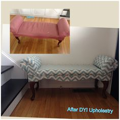 DYI bench makeover. Not sure if I could do this but I would love to give it a shot.