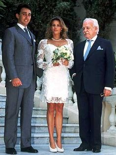 Princess Stephanie of Monaco and Daniel Ducruet wedding with her Father Rainer III, Prince of Monaco