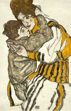 SCHIELE'S WIFE WITH HER LITTLE NEPHEW, 1915 - Egon Schiele