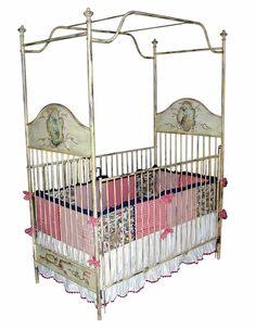 Handpainted Iron Canopy Crib