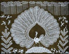 Warli paintings from Exotic India Peacock Coloring Pages, Worli Painting, Peacock Art, Indian Folk Art, Indian Art Paintings, Madhubani Painting, Quilling Art, Mural Art, Tribal Art
