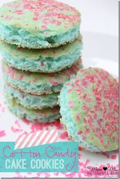 Cotton Candy Cake Cookies~ Great for Valentines, Easter or other Spring holidays!