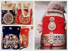 Collection of Velvet Potli bags with Embroidery work and motifs #Potli #IndianWedding