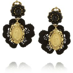 Dolce & Gabbana + V&A gold-plated, resin and macramé lace clip earrings ($230) found on Polyvore
