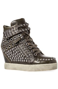 The Blondie Platform Sneaker in Military and Silver by Ash Shoes. (It looks like a Dalek.)