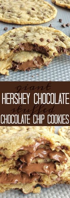 The best chocolate chip cookie dough stuffed with chocolate! Giant chocolate stuffed chocolate chip cookies are the best dessert. The best chocolate chip cookie dough stuffed with chocolate! Hershey Chocolate, Best Chocolate Chip Cookie, Chocolate Cookies, Chocolate Bars, Hershey Cookies, Hershey Cookie Recipe, Hershey Recipes, Best Chocolate Desserts, Chocolate Chip Brownies