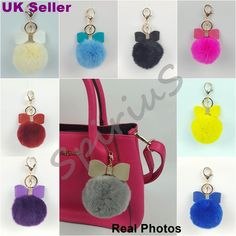 Real rabbit fur ball pompom with bow bag #charm keyring #accessory #keychain uk,  View more on the LINK: 	http://www.zeppy.io/product/gb/2/222333691761/
