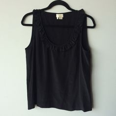 FLASH SALE Kate Spade 100% silk  black tank Kate Spade ruffle collar tank  Pre-owned- great condition, no holes or stains. Made of 100% silk, dry clean only. Size 12. Measurements:  Underarm to underarm flat across is approximately 19 1/2 inches. Back of neck to bottom of hem is approximately 24 1/2 inches. kate spade Tops Tank Tops