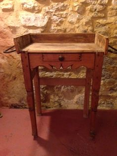 French antique petite wood hotel service table.