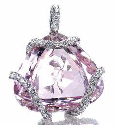 Morganite Diamond Pendant by JAR 1984