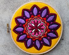 Embroidered Mandala Hoop Art by Existitchialist on Etsy Creative Embroidery, Embroidery Designs, Cross Stitch Embroidery, Hand Embroidery, Paisley, Laddu Gopal Dresses, Mandala Art, Doodle Art, Couture