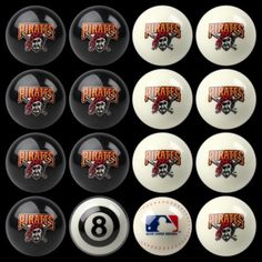 Pittsburgh Pirates Home vs Away Billiards/Pool Table Ball Set