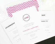 Black and Hot Pink Wedding Invitations