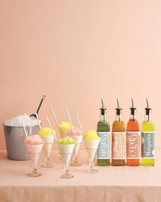Sara Coates...this has yr name all over it!Adult Snow Cone Bar... I love this idea! Pre-mix Margaritas, Mojitos, Daquaris and Cosmo's and put into Olive Oil bottles to pour over shaved ice.